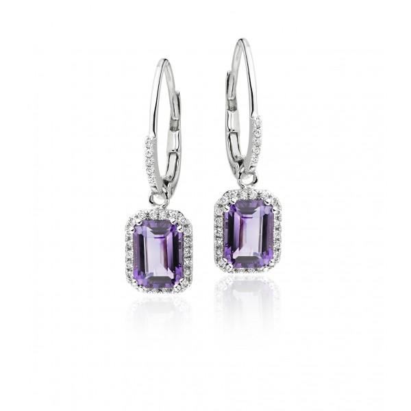 Amethyst & Diamond Drop Earrings 2.10ct Amethyst 9K White Gold