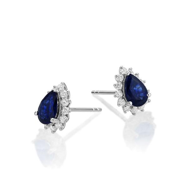 Pear Sapphire Stud Earrings 0.25ct Diamond Halo18K White Gold