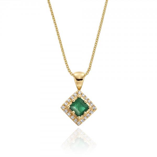 0.27ct Emerald Pendant Necklace 0.06ct Diamond 18K Yellow Gold