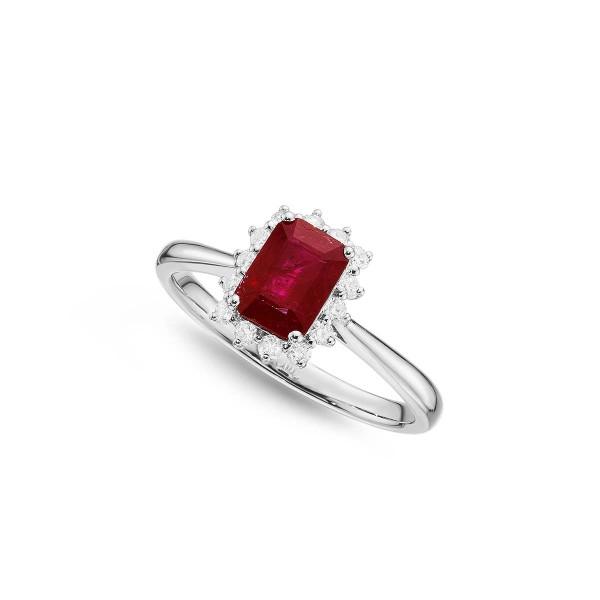 Ruby Ring 5x7mm Ruby & 0.21ct Diamonds in 18K White Gold