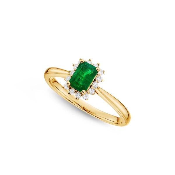 Emerald Ring 4x6mm Emerald & 0.14ct Diamonds in 18K Yellow Gold