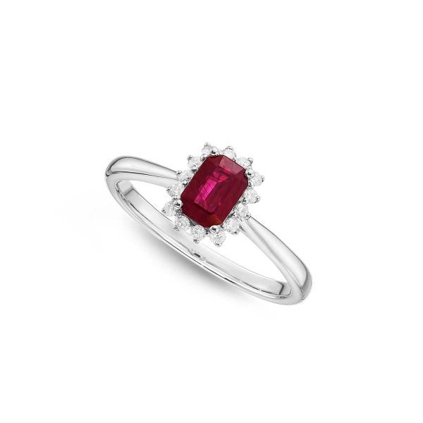 Ruby Ring 4x6mm Ruby & 0.14ct Diamonds in 18K White Gold