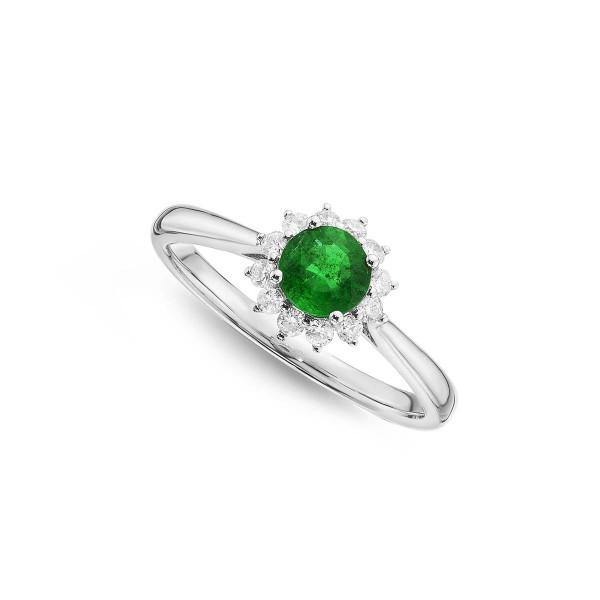 Emerald Ring 5mm Round Emerald & 0.18ct Diamond Halo 18K White Gold