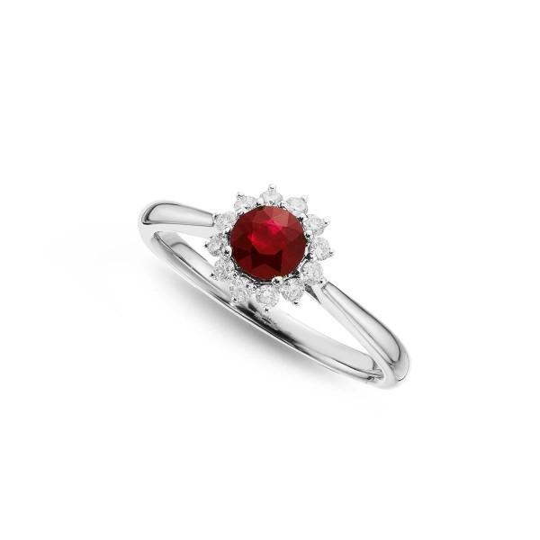 Ruby Ring 5mm Round Ruby & 0.18ct Diamond Halo 18K White Gold