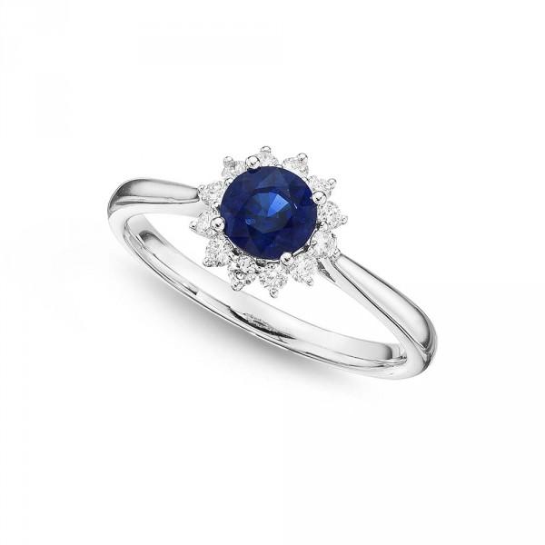 Sapphire Ring 5mm Blue Sapphire & 0.18ct Diamond Halo 18K White Gold