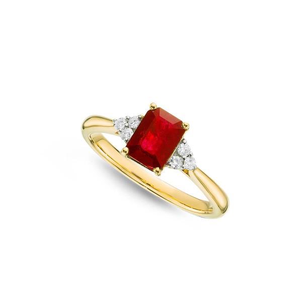 Ruby Ring 5x7mm Octagon Ruby & 0.10ct Diamonds 18K Yellow Gold