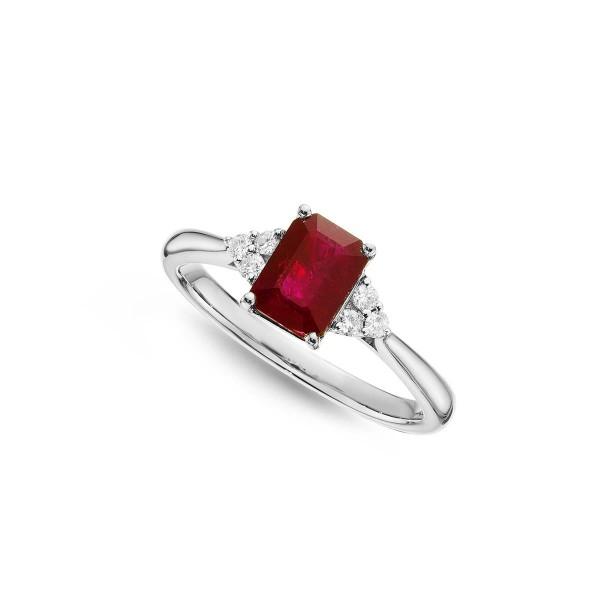 Ruby Ring 5x7mm Octagon Ruby & 0.10ct Diamonds 18K White Gold