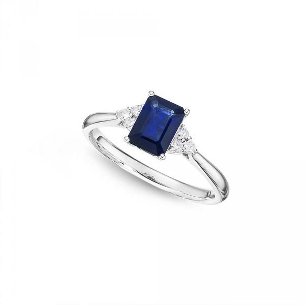 Sapphire Ring 5x7mm Blue Sapphire & 0.10ct Diamonds 18K White Gold