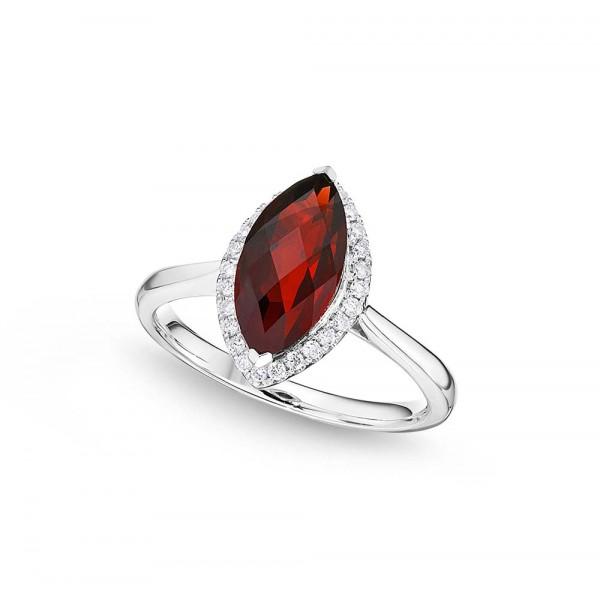 Marquise Garnet Ring 6x12mm Garnet 0.13ct Diamonds 18K White Gold