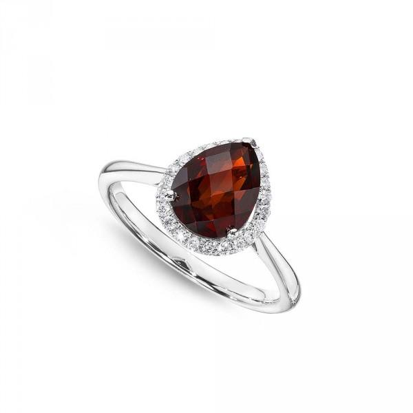 Pear Garnet Ring 7x9mm Garnet & 0.14ct Diamonds 18K White Gold