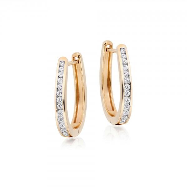 Diamond Hoop Earrings 0.40ct Channel Set Hoops in 9K Yellow Gold
