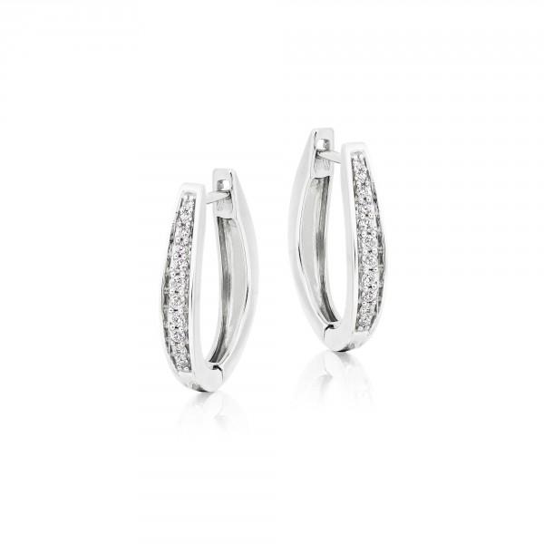Diamond Hoop Earrings 0.25ct Graduating Diamond Hoops 9K White Gold