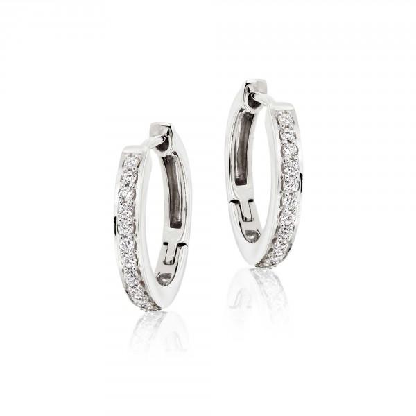 Diamond Hoop Earrings 0.25ct Elevated Diamond Hoops 9K White Gold
