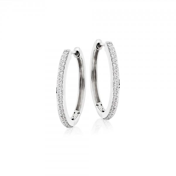 Diamond Hoop Earrings 0.40ct Elevated Diamond Hoops 9K White Gold