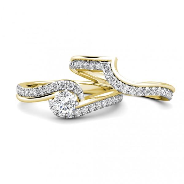 Twirl Diamond Cluster Engagement Ring 0.40ct Diamond in 18K Yellow Gold