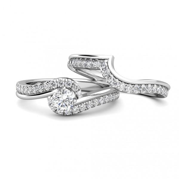 Twirl Diamond Cluster Engagement Ring 0.40ct Diamond in 18K White Gold
