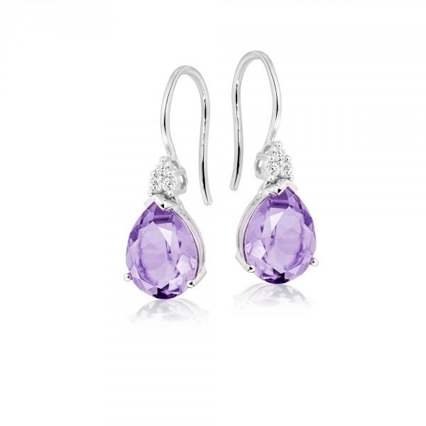 Amethyst & Diamond Drop Earrings 4.60ct Pear Amethyst 9K White Gold