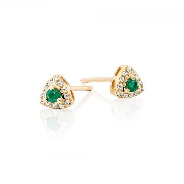 0.10ct Emerald Earrings with Diamond Halo 18K Yellow Gold