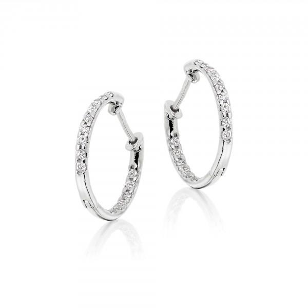 Diamond Hoop Earrings 0.25ct Glamour Diamond Hoops 18K White Gold