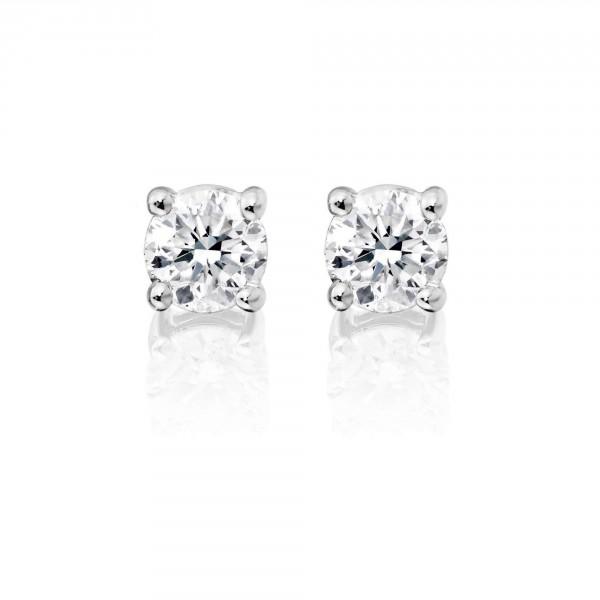 Diamond Stud Earrings 0.50ct Solitaire Diamond Studs 18K White Gold