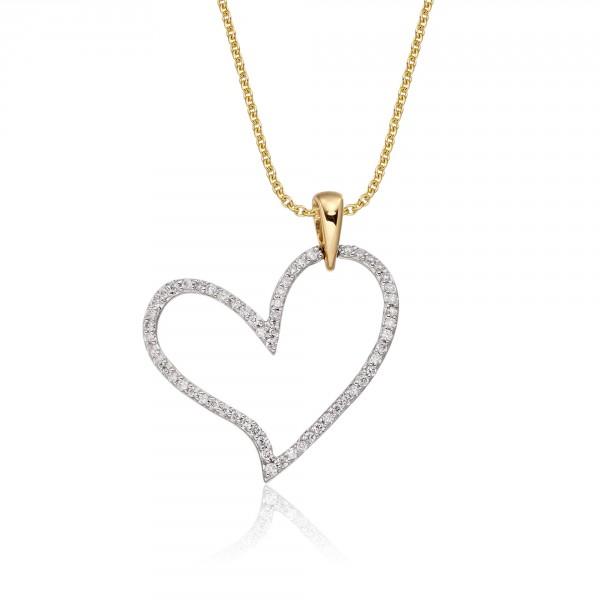 Open Diamond Heart Pendant 0.25ct Diamond 9K Yellow Gold