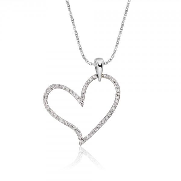Open Diamond Heart Pendant 0.25ct Diamond 9K White Gold