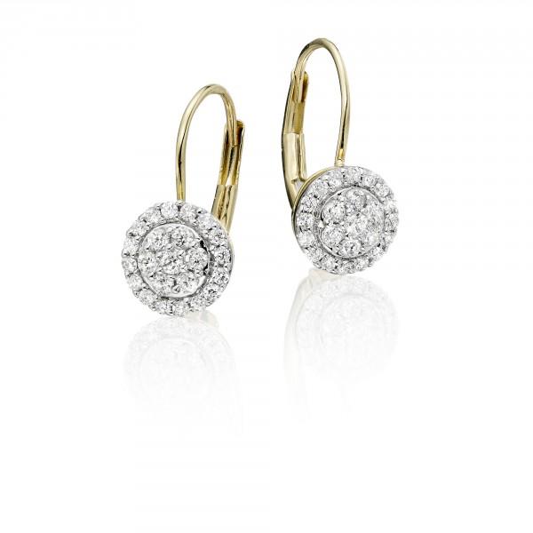 Solar Diamond Cluster Earrings 0.33ct Drop Earrings 18K Yellow Gold
