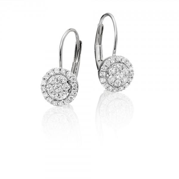 Solar Diamond Cluster Earrings 0.33ct Drop Earrings 18K White Gold