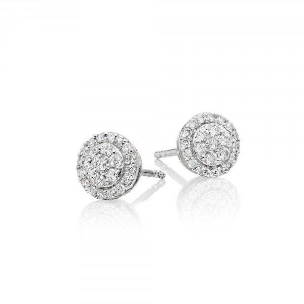 Solar Diamond Cluster Earrings 0.35ct Studs 18K White Gold