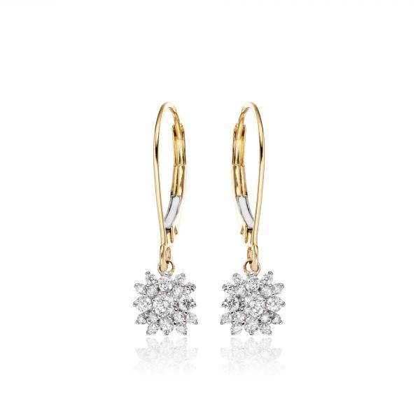 Blossom Diamond Cluster Earrings 0.33ct Drop Earrings 9K Yellow Gold