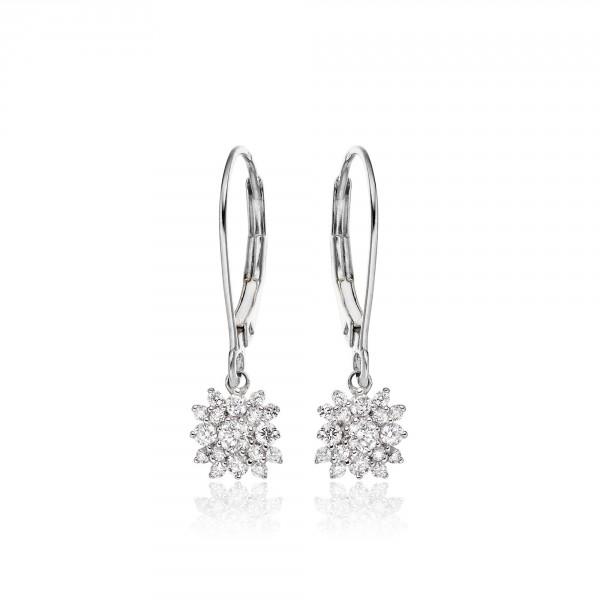 Blossom Diamond Cluster Earrings 0.33ct Drop Earrings 9K White Gold