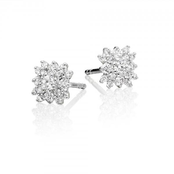 Blossom Diamond Cluster Earrings 0.35ct Studs 9K White Gold