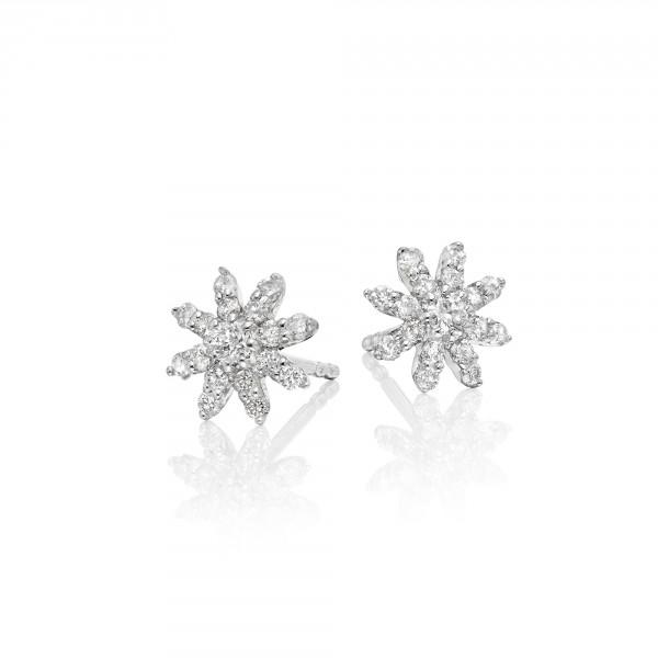 Lotus Diamond Cluster Earrings 0.30ct Studs 18K White Gold