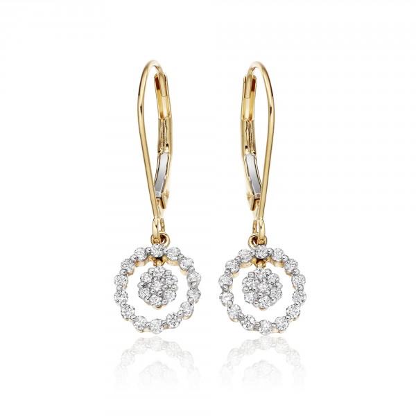 Orbit Diamond Cluster Earrings 0.40ct Drop Earrings 9K Yellow Gold