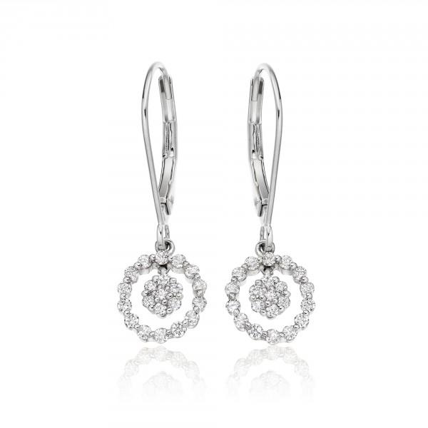 Orbit Diamond Cluster Earrings 0.40ct Drop Earrings 9K White Gold