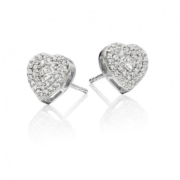 Diamond Heart Earrings 0.40ct Pave Diamond Studs 18K White Gold