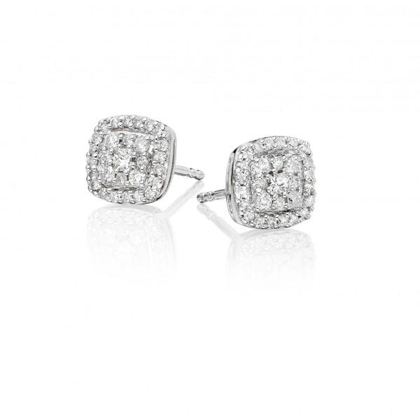 Cushion Diamond Cluster Earrings 0.30ct Studs 18K White Gold