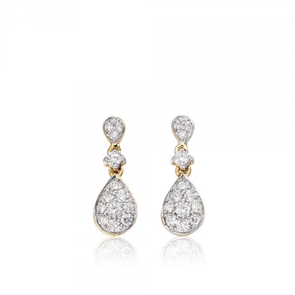 Rain Drop 0.40ct Diamond Earrings In 9K Yellow Gold