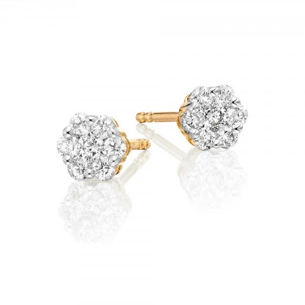 Flower Diamond Cluster Earrings 0.33ct Studs 9K Yellow Gold