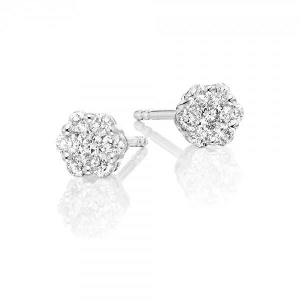 Flower Diamond Cluster Earrings 0.33ct Studs 18K White Gold