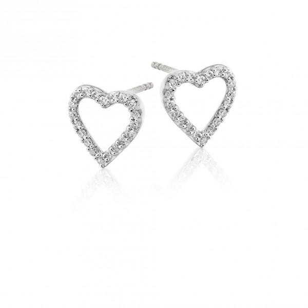 Diamond Heart Earrings 0.25ct Open Heart Studs 9K White Gold