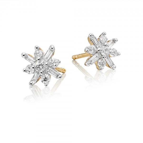 Jasmine Diamond Cluster Earrings 0.35ct Studs 9K Yellow Gold
