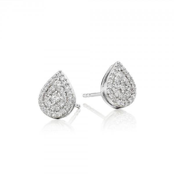 Pear Diamond Cluster Earrings 0.30ct Studs 18K White Gold