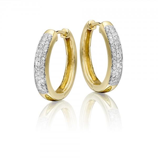Diamond Hoop Earrings 0.25ct Jubilee Diamond Hoops 18K Yellow Gold