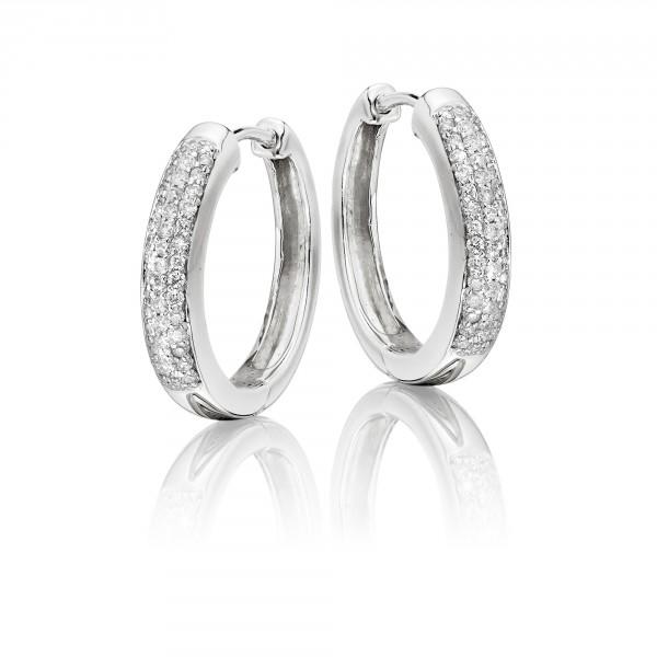 Diamond Hoop Earrings 0.25ct Jubilee Diamond Hoops 9K White Gold