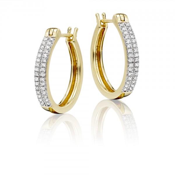 Diamond Hoop Earrings 0.25ct Double Line Hoops 18K Yellow Gold