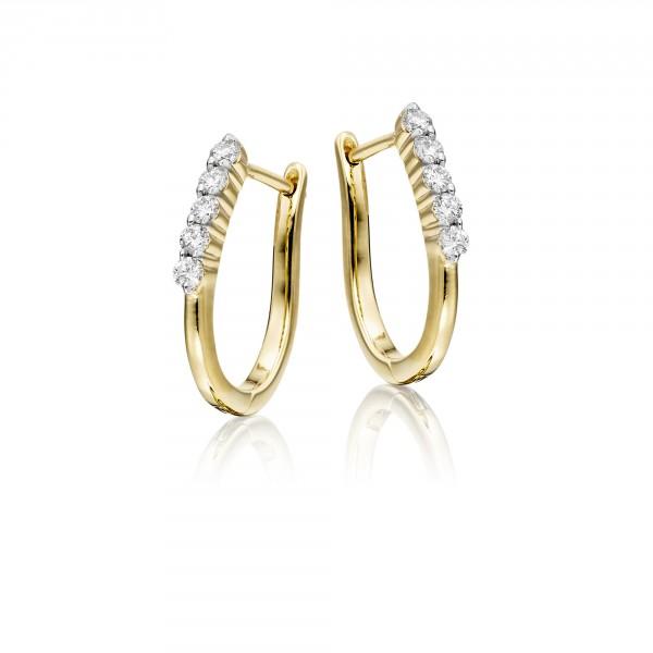 Diamond Hoop Earrings 0.25ct Quinate Diamond Hoops 18K Yellow Gold