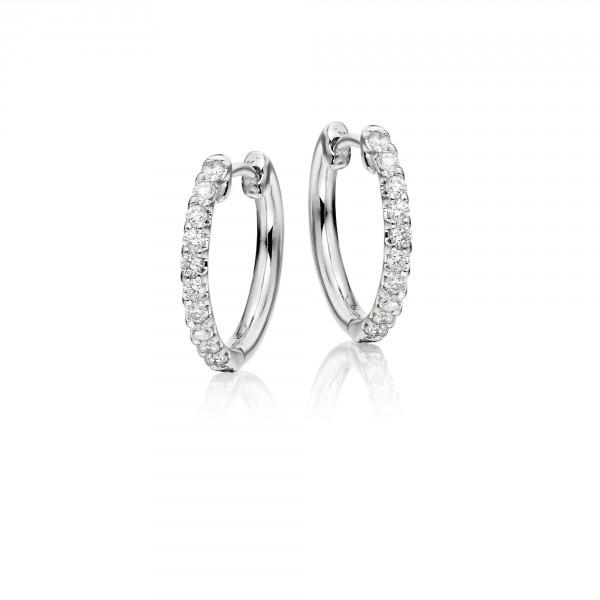 Diamond Hoop Earrings 0.20ct Elegance Diamond Hoops 18K White Gold