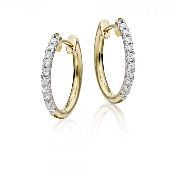 Diamond Hoop Earrings 0.40ct Grace Diamond Hoops 9K Yellow Gold