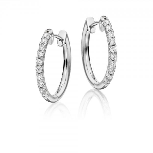 Diamond Hoop Earrings 0.40ct Grace Diamond Hoops 9K White Gold